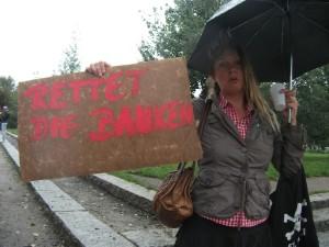 Rettet die Banken Schild